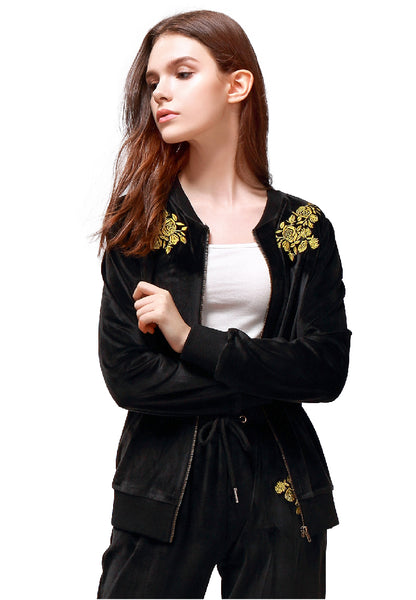 Black Velvet Embroidery Jacket - London Rag India