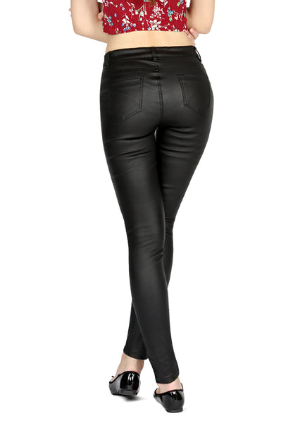 Black Glossy Faux Leather Stretchable Pant - London Rag India
