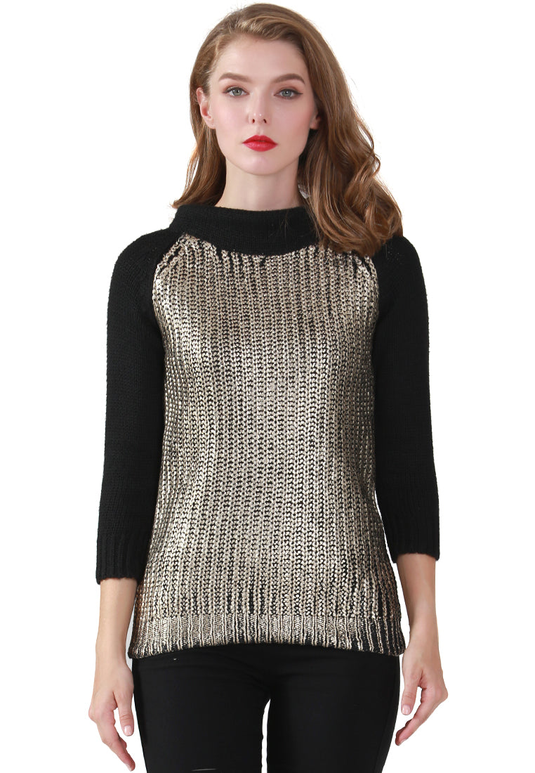Gold Metallic Print Wide Turtle Neck Knit Sweater - London Rag India