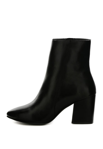 Black Heeled Leather Boots - London Rag India