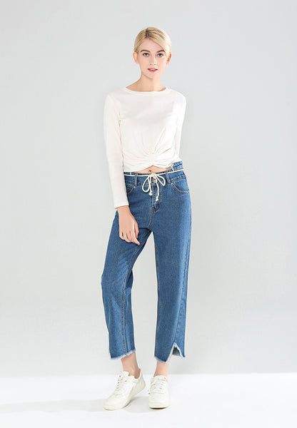 Blue Denim Jeans with Frayed Bottom