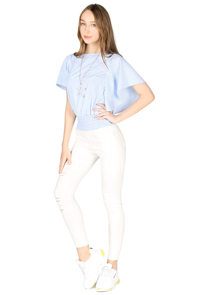 Blue Stripe High Neck Batwing Top