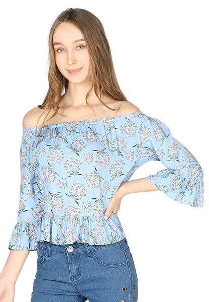 Blue Floral Print Off Shoulder Top - London Rag India