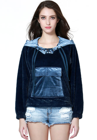 Blue Furr Hoodie - London Rag India