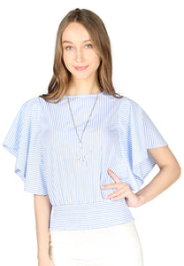 Blue Stripe High Neck Batwing Top - London Rag India