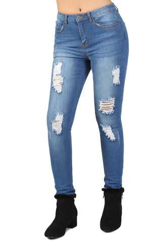 Blue Skinny Distressed Jeans - London Rag India