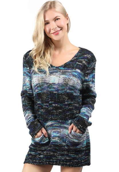 Blue Color Textured Sweater - London Rag India