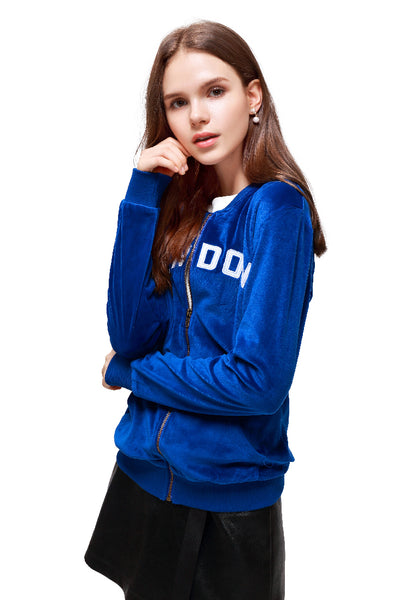 Blue Velvet Zipper Jacket - London Rag India