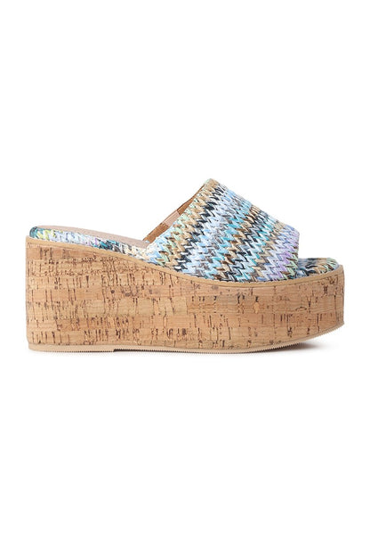 Multicolor Raffia Slip-on Platform - London Rag India