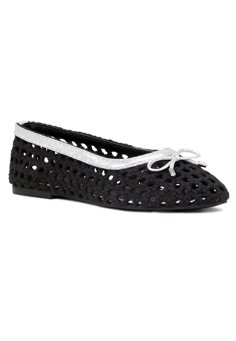 Women's Black Cotton Mesh Brionna Flat Ballerinas - London Rag India