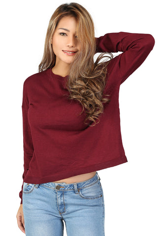 London Rag Crew Neck Knit Sweater Burgundy - London Rag India