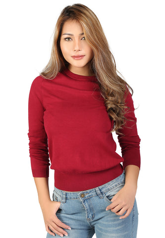 London Rag Fine knit striped sweater Maroon - London Rag India