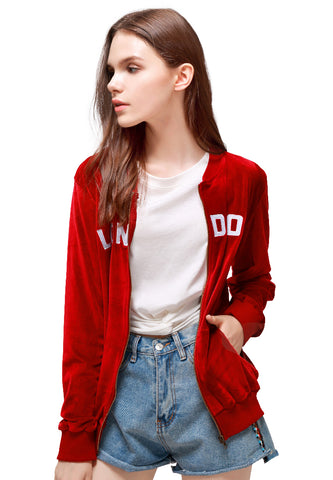 Burgundy Velvet Zipper Jacket - London Rag India
