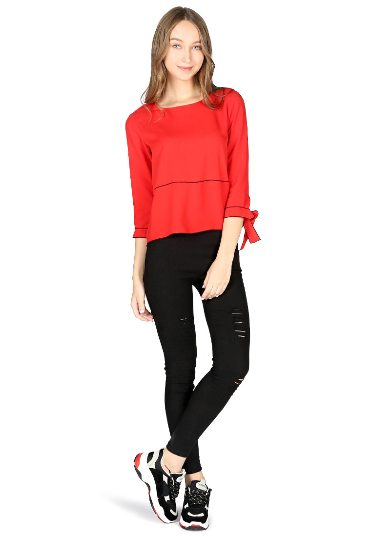 Red Elbow Sleeve Casual Top - London Rag India