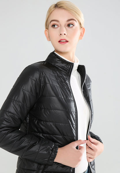 Black Puffer Jacket with Zipper Closure