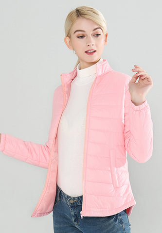 Pink Puffer Jacket with Zipper Closure