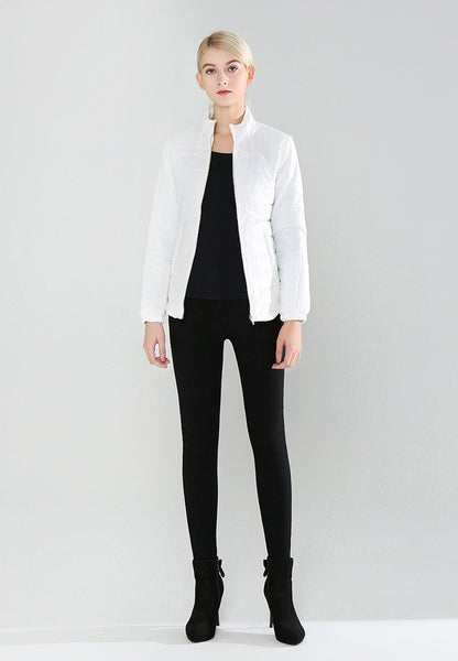 White Puffer Jacket with Zipper Closure