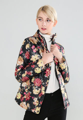 Black Floral Print High Neck Puffer Jacket