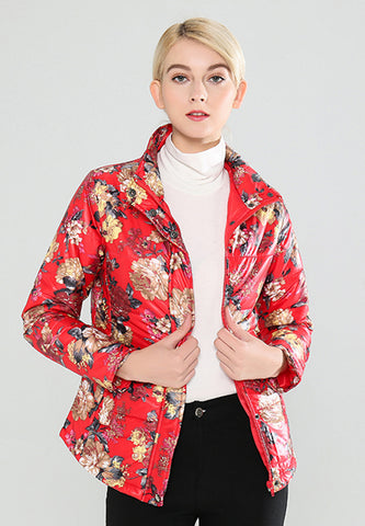 Red High Neck Puffer Jacket