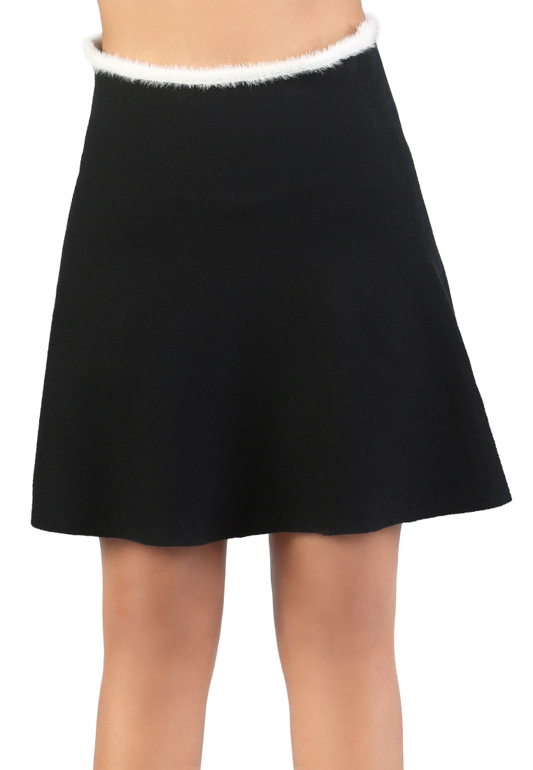 Black Casual Knit Skirt - London Rag India