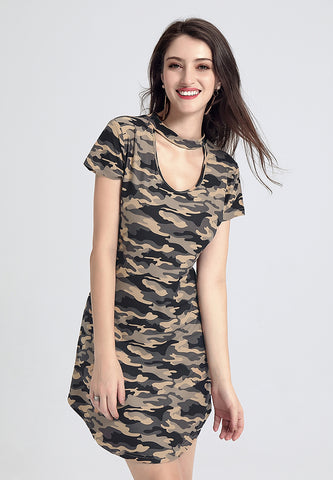 Camouflage Choker Neckline Dress - London Rag India