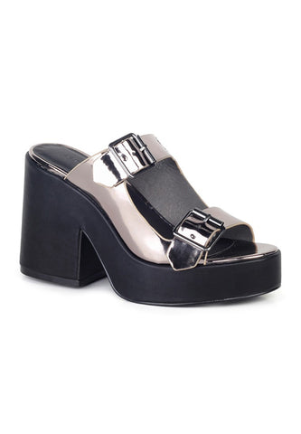 Womens Pewter Strap Wedge Sandals - London Rag India