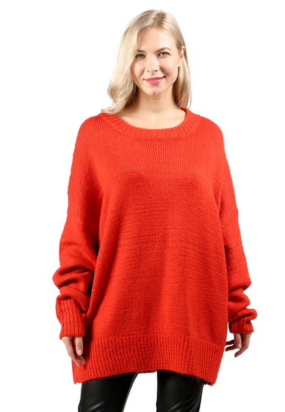 Red Oversized Solid Sweatshirt - London Rag India