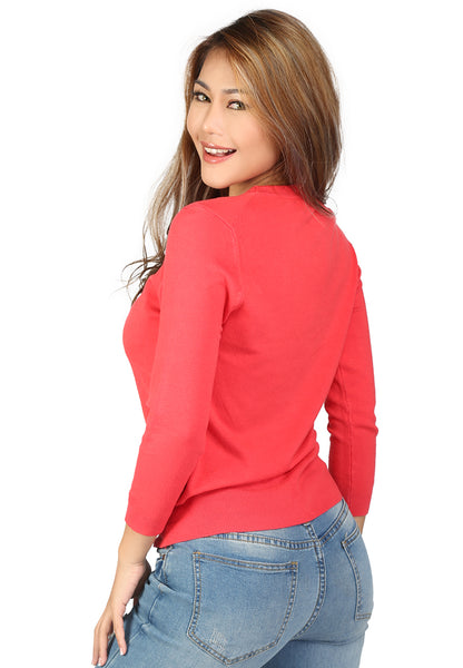 Coral Fine Knit Round Neck Casual Women Sweater - London Rag India