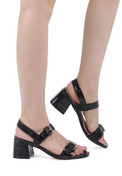 Black Croc Print Block Sandal - London Rag India