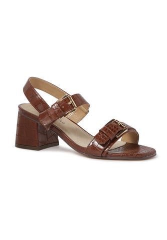 Brown Croc Print Block Sandal - London Rag India