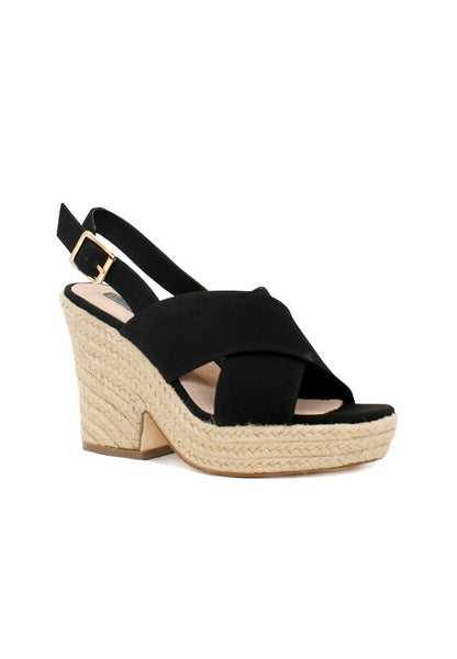 Black Mid Heels Cross Ankle Strap - London Rag India