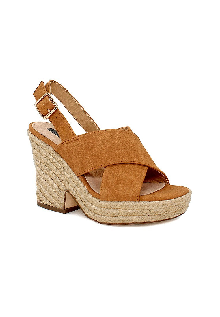 Tan Mid Heels Cross Ankle Strap - London Rag India