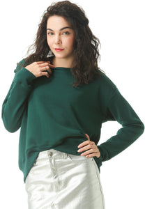 Green Sweatshirt with Shoulder Details - London Rag India