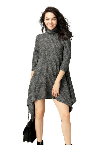 Long Sleeve Asymmetrical Hem Sweater Dress - London Rag India