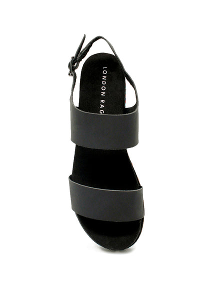Womens Black Ankle Strap Flat Platforms - London Rag India
