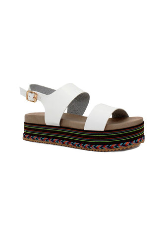 White Ankle Strap Flat Platforms - London Rag India
