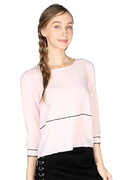 Dusty Pink Elbow Sleeve Casual Top - London Rag India
