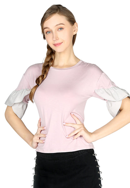 Dusty Pink Petal Sleeve Casual Top - London Rag India