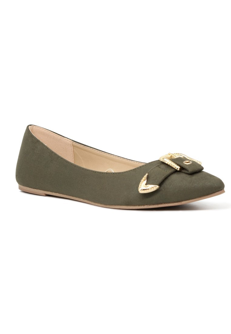 Womens Olive Buckle Ballerinas