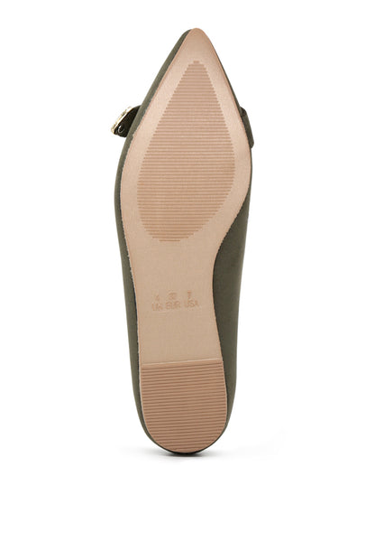 Womens Olive Buckle Ballerinas - London Rag India