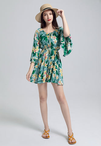 Green Drawstring Mini Dress - London Rag India