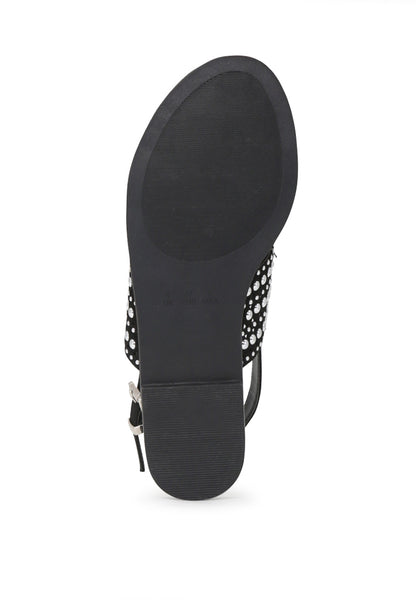 Womens Black Florence Studded Flat Sandals - London Rag India