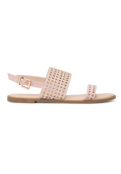 Women Nude Florence Studded Flat Sandals - London Rag India