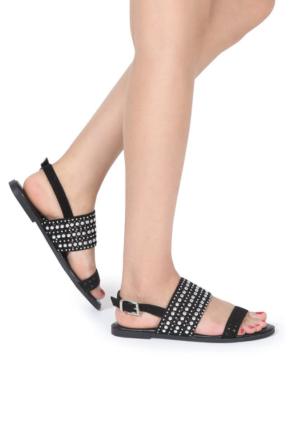 Women Black Florence Studded Flat Sandals - London Rag India