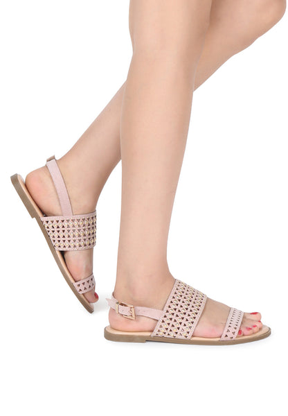 Nude Florence Studded Flat Sandals - London Rag India