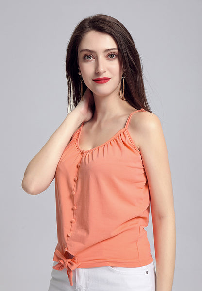 Coral Front Tie Spaghetti Top - London Rag India