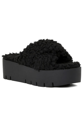 Women's Black Fur CrossStrap Flatforms - London Rag India