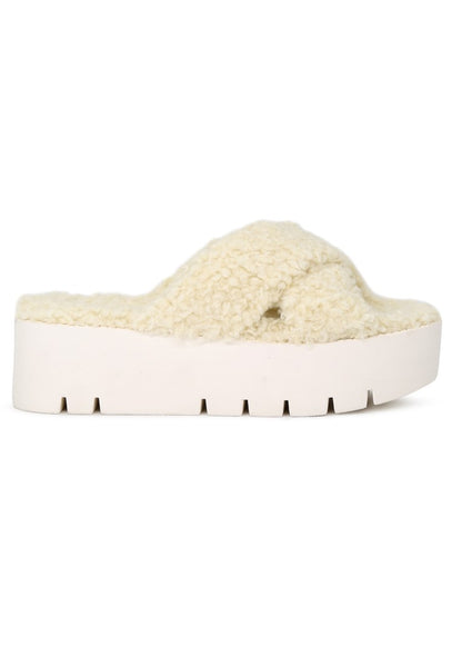 Womens Natural Color Fur CrossStrap Flatforms - London Rag India