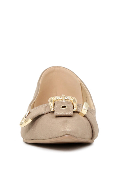 Womens Gold Buckle Ballerinas - London Rag India