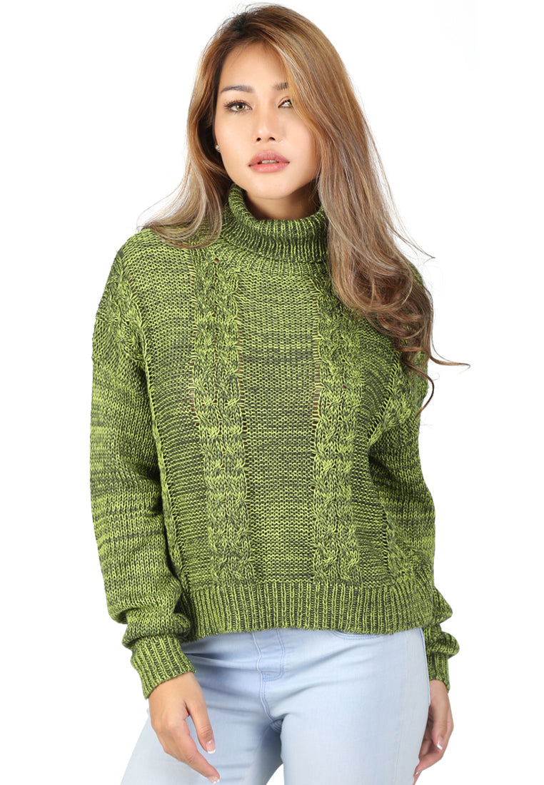 Green Cable Knit Turtle Neck Sweatshirt - London Rag India
